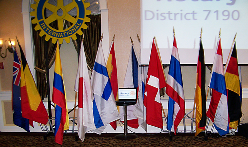 Flags from some Rotary member nations.
