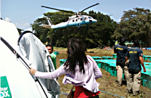 Green ShelterBoxes being air-dropped and distributed.