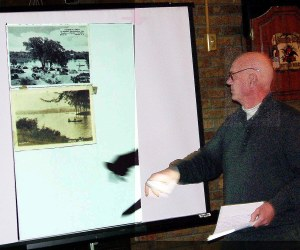 Charlie Foote shows two examples of post card art.