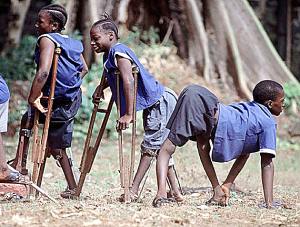 Young African victims of polio.