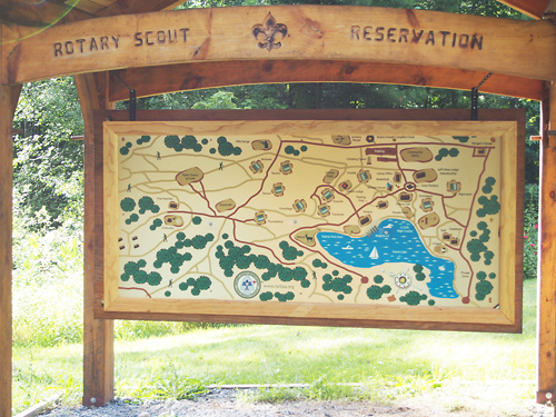 A map of the Rotary Scout Reservation.