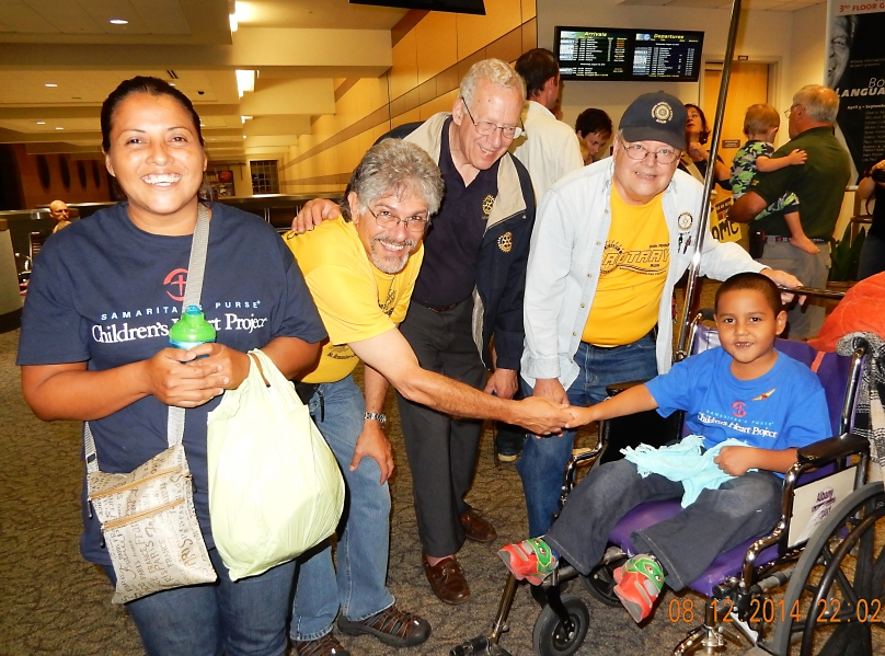 Danny Sarmiento, our Gift of Life child, arrived from Honduras on Tuesday night. He and his mother, Maria (left), were greeted At Albany International Airport by Southern Rensselaer County club members Roberto Martinez and Jim Leyhane, joined by GOL board member Bill Nathan.