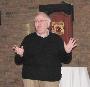 Historian Kurt Vincent addresses the club.
