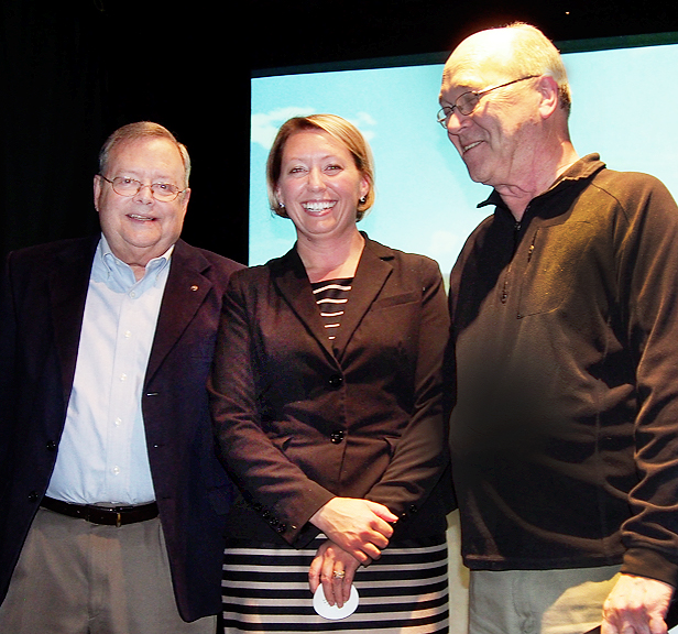 Our newest Rotarian, Shannon Romanowski, is flanked by inductor Jim Leyhane and President Bill Dowd.