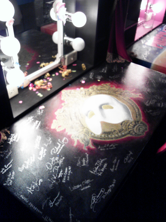 "A Proctors tradition has cast of major productions signing their customized dressing table. Here, ""Phantom."""