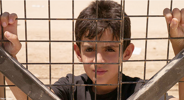 Young Syrian boy in a refugee camp.