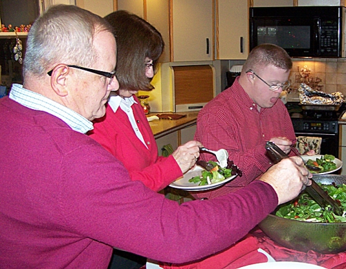 Terry, Betty and Geoff Brewer preparing to chow down.