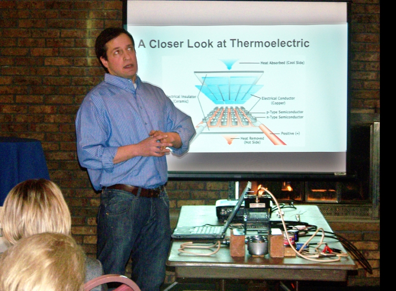 Robert Parzek speaking on thermoelectric energy.