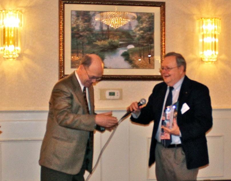"Jim Leyhane, receiving a ""Lifetime Achievement Award."""