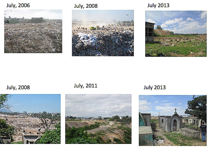 The changing scene at the dump over the years.