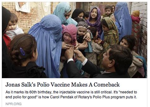 To read the story, click on http://www.npr.org/blogs/goatsandsoda/2015/04/12/398806324/jonas-salks-polio-vaccine-makes-a-comeback?utm_source=facebook.com&utm_medium=social&utm_campaign=npr&utm_term=nprnews&utm_content=20150412
