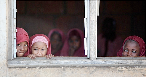 Nigerian children who have been vaccinated. (WHO photo by T. Moran)