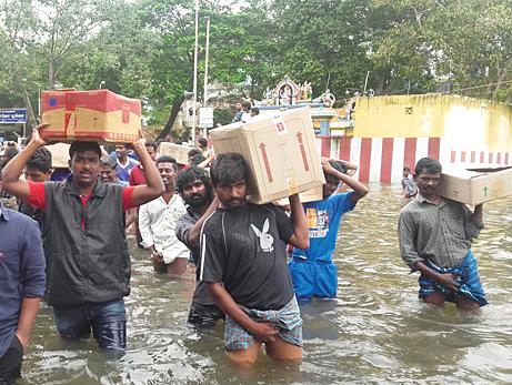 Residents of Chennai overwhelmed by flooding.