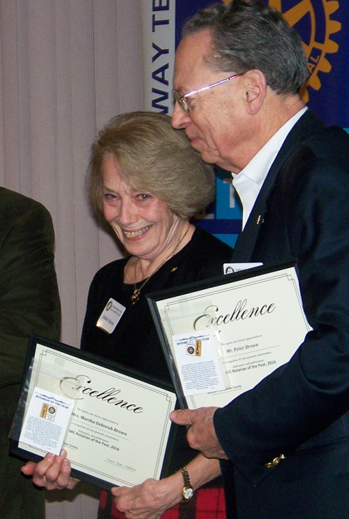 "Debbie and Peter Brown were honored as ""Rotarians of the Year."""