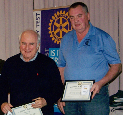 "From lefty: Stdewart Wagner and Murray Forth receive ""Unsung Rotarian"" awards."