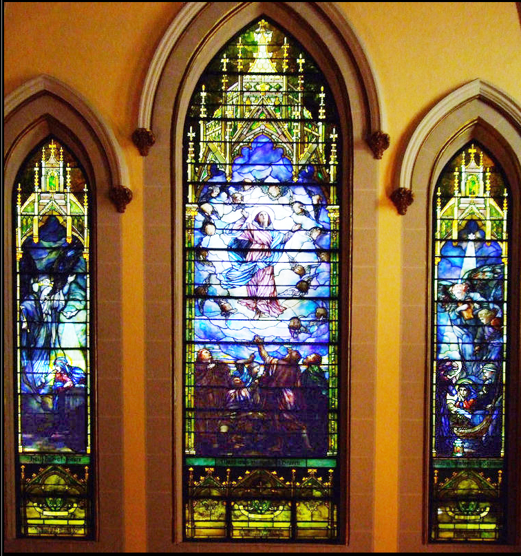 "The ""Assumption of the Blessed Virgin"" window in St. Joseph's Roman Catholic Church in Troy."