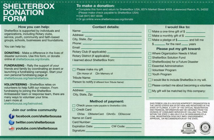 ShelterBox Donation Form
