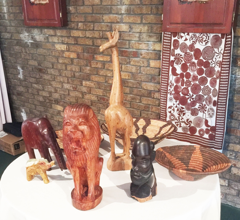 A sampling of carved and fabric handicrafts Julia purchased in Africa.