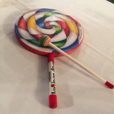 A lollipop drum used in therapy.