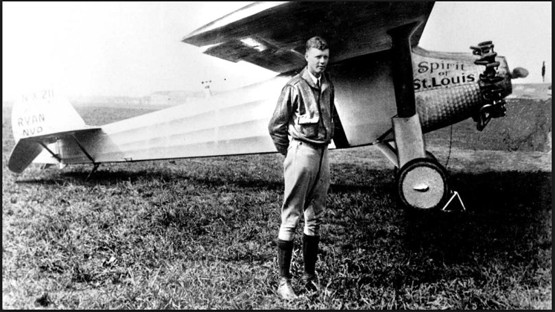 Aviator Charles Lindbergh and his famous plane. (Photo courtesy of the Lindbergh Foundation)