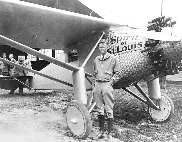 Lindbergh and the original 'Spirit.'