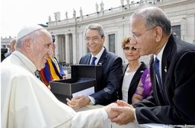 Pope Paul; greets RI President K.R. Ravindran.